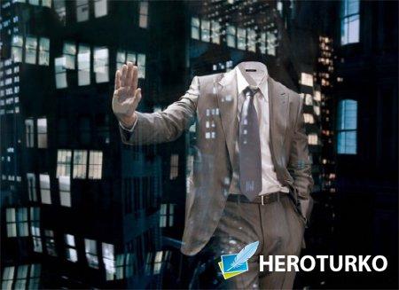 Photoshop шаблон - Деловой мужчина в большом городе