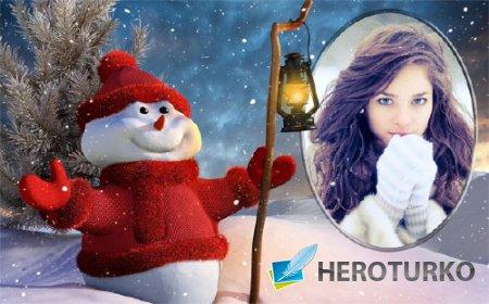 Рамка для фотомонтажа - Снеговичок зимой