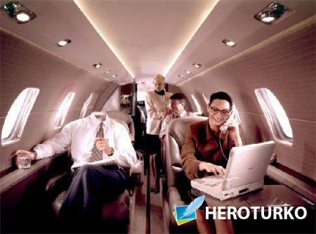 Богатый политик в частном самолете - Шаблон psd