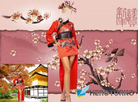 Шаблон для фотошопа - Гейша в красном костюме