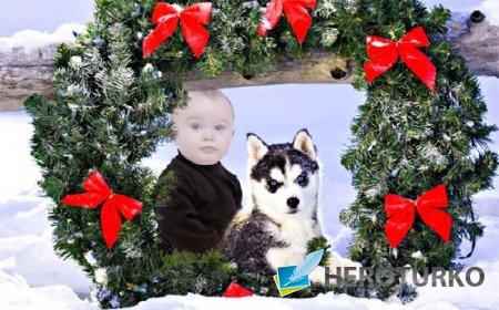 Детский шаблон - Ребенок вместе с маленькой хаски под рождественским венком