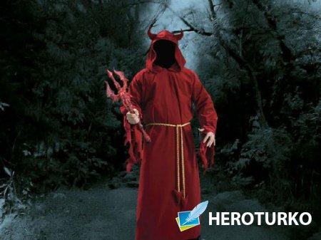 Мужской шаблон - Дьявол с трезубцем в руках