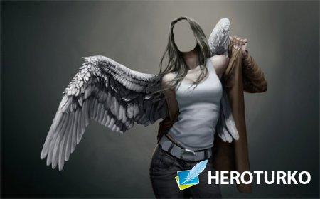 Девушка ангел с крыльями - Шаблон для девушек