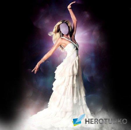 Шаблон женский - Стройная девушка в шикарном платье белом