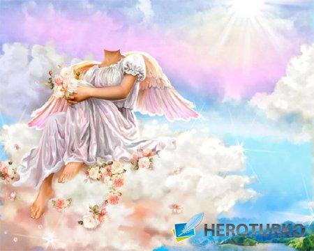 Шаблон psd женский - Ангел сидя на облаке с цветами