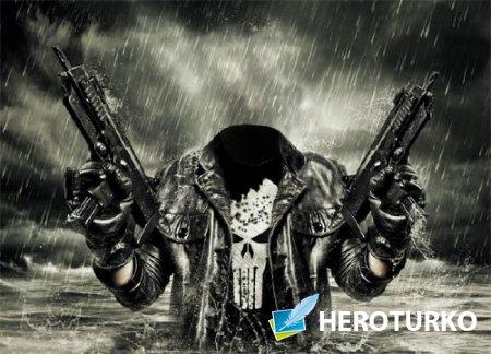 Шаблон для Photoshop - В воде с оружием