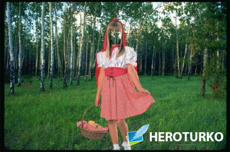 Шаблон для фотошопа - Костюм красной шапочки