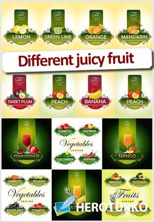 Овощи и фрукты, этикетки - Клипарт векторный