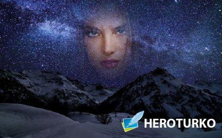 Фоторамка - Ночное небо в горах