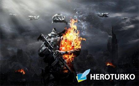Мужской шаблон - Военный в огне