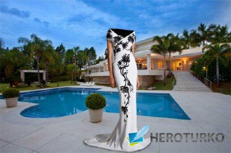 Photoshop шаблон - В длинном вечернем платье у бассейна