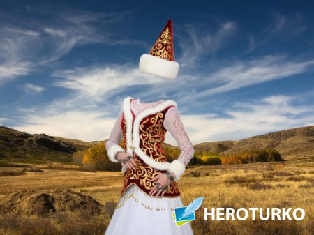 Фото шаблон - В традиционном костюме Казахстана