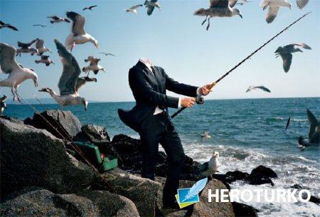 Шаблон для Photoshop - На рыбалке в костюме