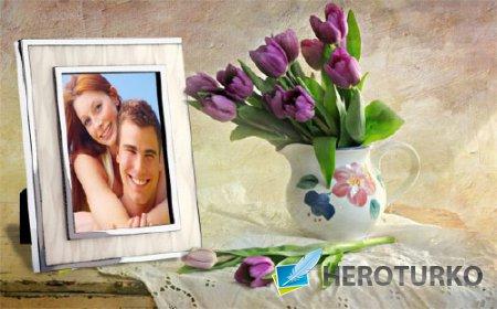 Фоторамка для фотошопа - Весенние цветы