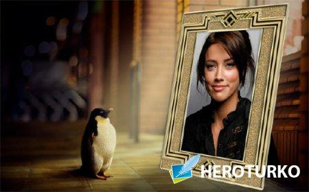 Рамка для фотошоп - Пингвин смотрит на ваше фото