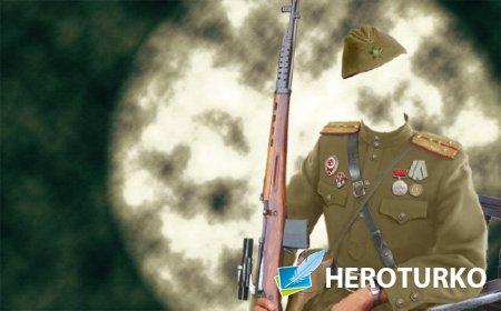 Шаблон psd мужской - Костюм солдата Второй мировой