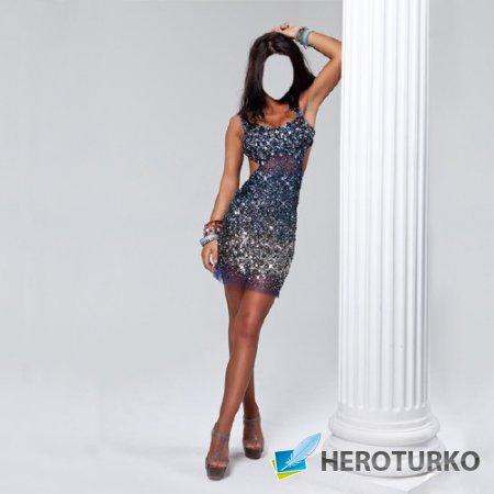 Шаблон женский - Брюнетка в блестящем платье у колоны