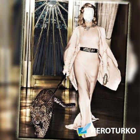 Шаблон для фото - Вечернее платье и леопард