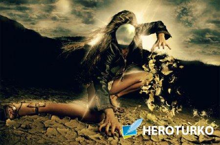 Женский фото шаблон - Магическая девушка