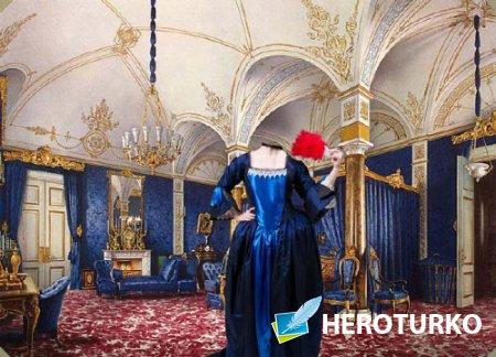 PSD шаблон для девушек - В старинном платье во дворце