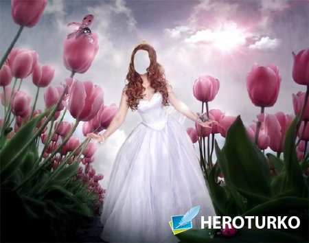 Фото шаблон - Принцесса среди тюльпанов