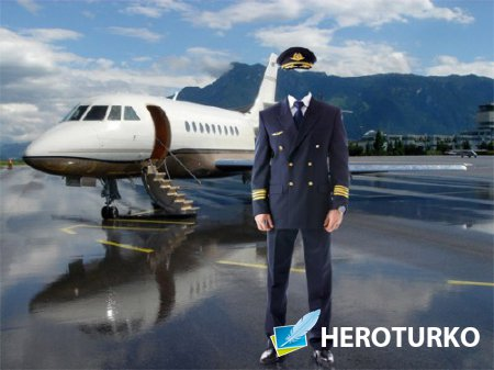 Шаблон для фотошопа - Пилот самолета