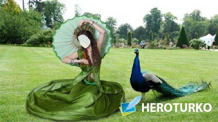 Шаблон для фотомонтажа - В парке в зеленом платье и зонтом