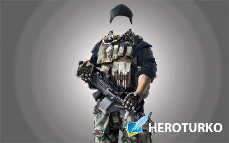 Шаблон мужской - Солдат с оружием