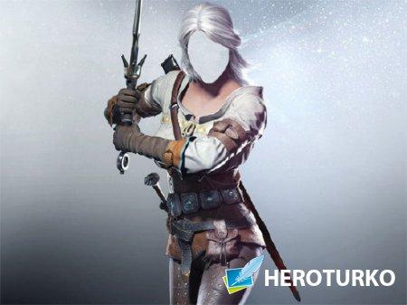 Шаблон для фотомонтажа - Девушка с мечом