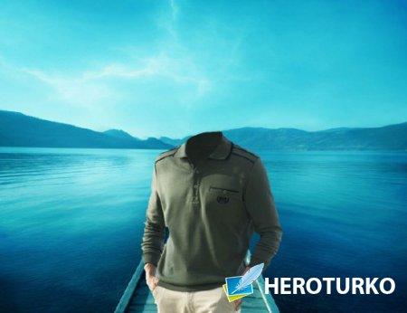 Шаблон для фотомонтажа - Мужчина на озере