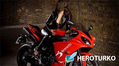 Шаблон для фотомонтажа - На красном мотоцикле