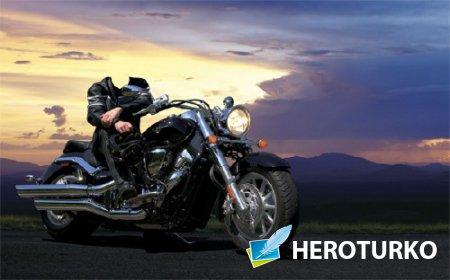Photoshop шаблон - В дороге на мотоцикле