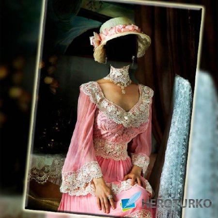 Шаблон для фото - В старинном розовом наряде