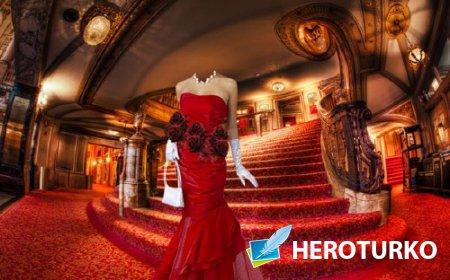 Шаблон для фотомонтажа - В театре на лестнице в нарядном платье
