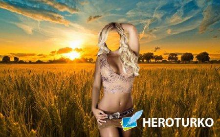 Женский шаблон - Шикарная блондинка на пшеничном поле