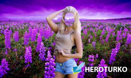 Шаблон psd женский - Стройная девушка в лавандовом поле