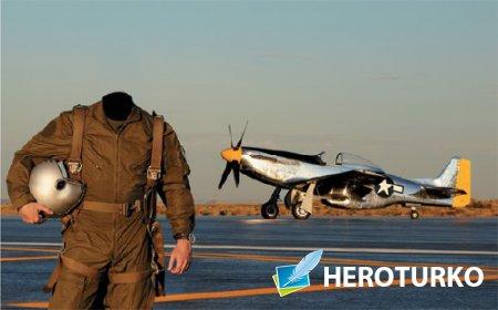 Мужской фото шаблон - В костюме летчика