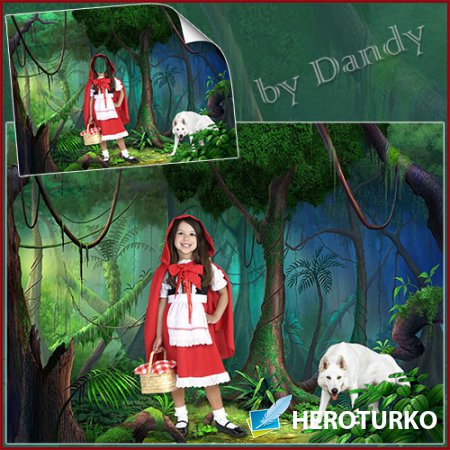 Шаблон для фотошопа - красная шапочка и белый волк