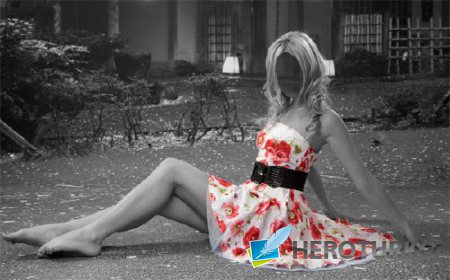 Шаблон для фотомонтажа - В цветочном платье