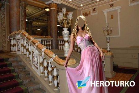 Шаблон для фото - В красивом розовом наряде в театре