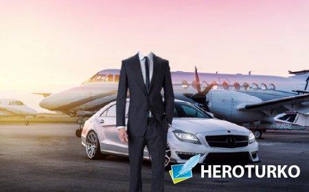 Шаблон psd мужской - Собственный самолет и дорогое авто