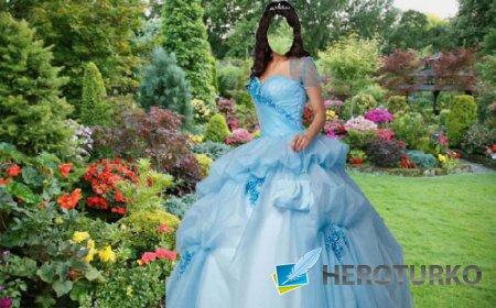 Шаблон для фотошопа - В пышном платье в парке