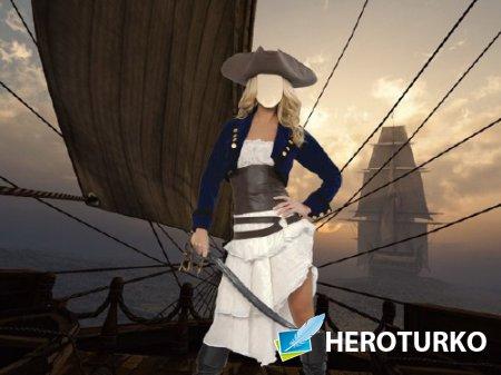 Шаблон для Photoshop - В костюме пирата на корабле