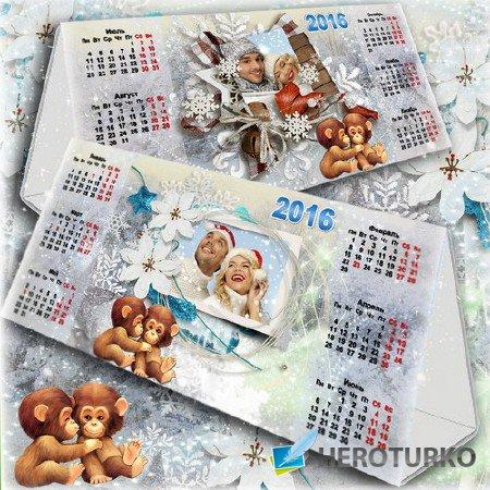 Настольный календарь для офиса и дома на 2016 год - Морозная и снежная зима
