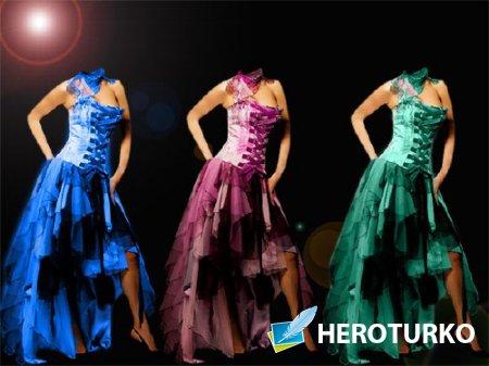 Женский фото шаблон - В платье 5 разных цветов