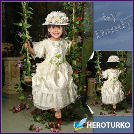 Шаблон для фотошопа - Девочка на качелях из цветов