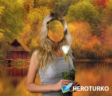 Photoshop шаблон - С цветком в руках