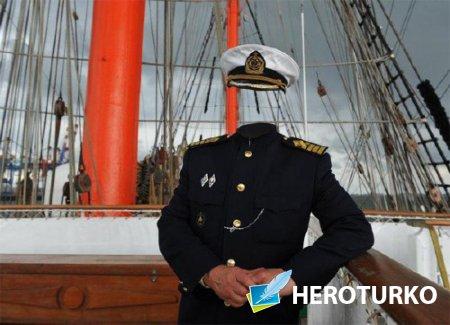 PSD шаблон для мужчин - Капитан корабля