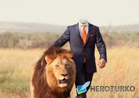 Шаблон psd - Прогулка со львом