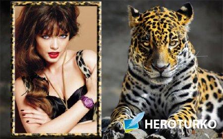 Фоторамка psd - Изящный леопард
